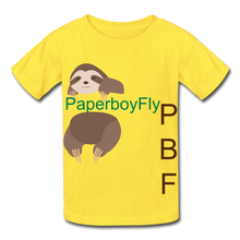 Load image into Gallery viewer, PBF Sloth Youth Tagless T-Shirt - yellow