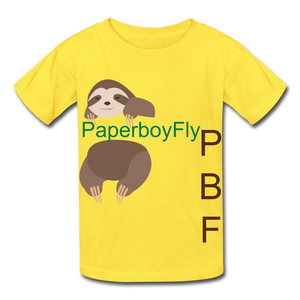 PBF Sloth Youth Tagless T-Shirt - yellow
