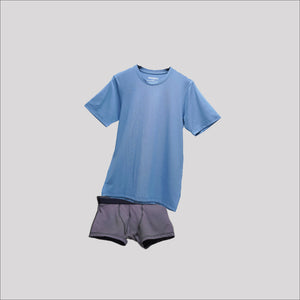 Bundle Underwear Crew Neck Sky Blue on Dark Grey