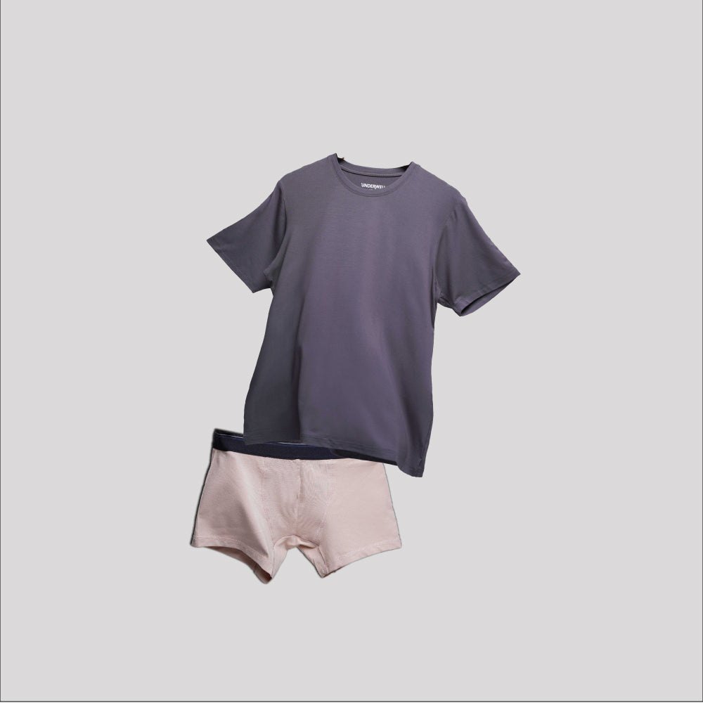 Bundle Underwear & Crew Neck Dark Grey on Beige