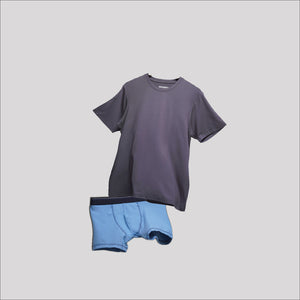 Bundle Underwear & Crew Neck Dark Grey on Sky Blue
