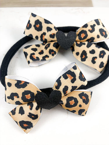 Animal print hair accessories with leather heart