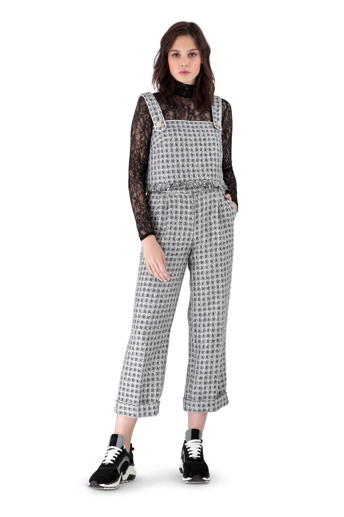 Black And White Tweed Straight Leg Trousers