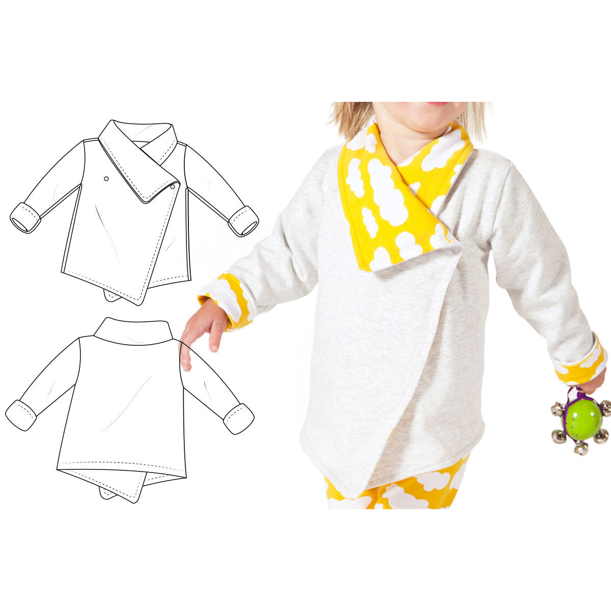 Wrap cardigan sewing pattern for babies and toddlers brindille reversible wrap cardigan 59 jeuxipadfo Images