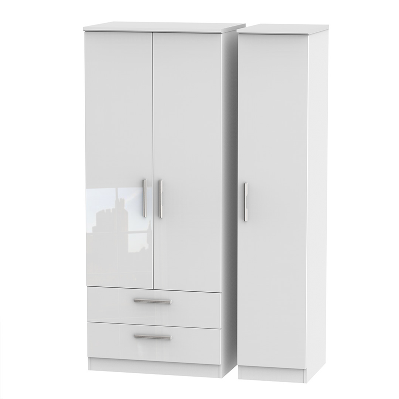 Welcome Furniture Knightsbridge Tall Triple 2 Drawers Wardrobe