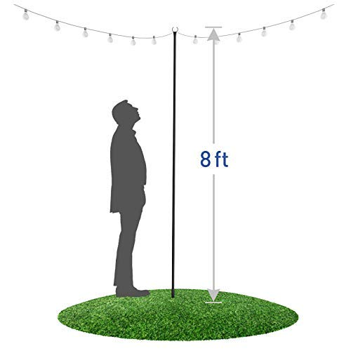 "Outdoor String Lights Pole (1 x 8f) - Light Up Patio or Garden with LED Or Solar Hanging Bulbs - 3-Prong 8"" Sturdy Fork To Dig Deep - Water-resistant Steel Powder Coated Poles for House Café Wedding"