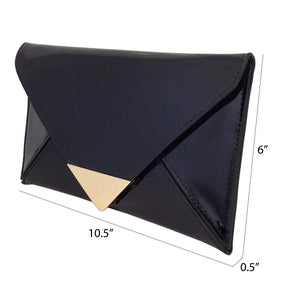 JNB Faux Patent Leather Glossy Envlope Clutch