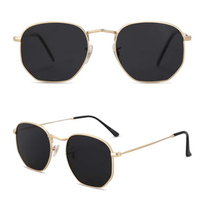 SOJOS Small Square Polarized Sunglasses for Men and Women Polygon Mirrored Lens SJ1072 with Gold Frame/Grey Lens
