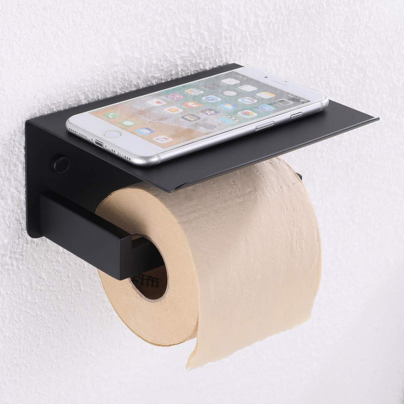 APLusee Toilet Paper Holder with Shelf Matte Black, Bathroom Accessories Decor SUS 304 Stainless Steel Modern Paper Towel Holder Plus Cell Phone Wall Storage