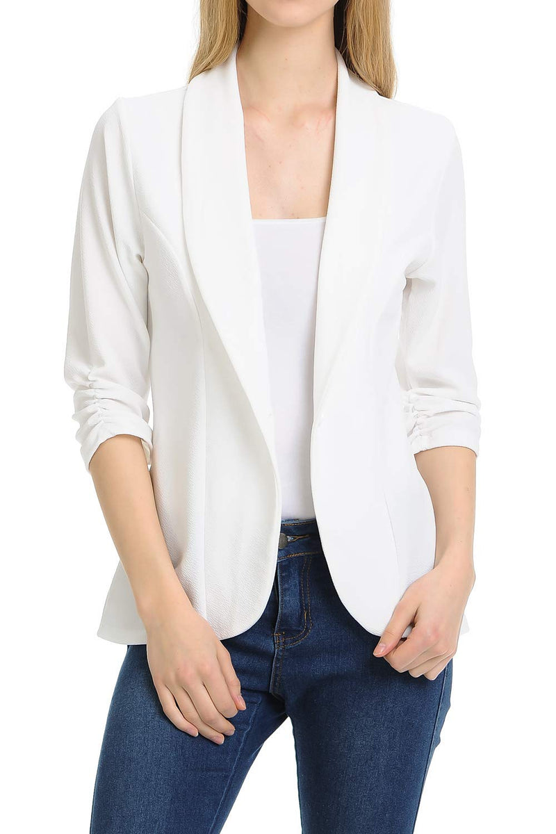 MINEFREE Women's 3/4 Ruched Sleeve Lightweight Work Office Blazer Jacket OFFWHITE M