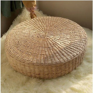 "MAHAO Japanese Style Handcrafted Eco-friendly Padded Knitted Straw Flat Seat Cushion,Hand Woven Tatami Floor Cushion Corn Maize Husk (Dia40cm/15.8"" x 10cm/4"")"