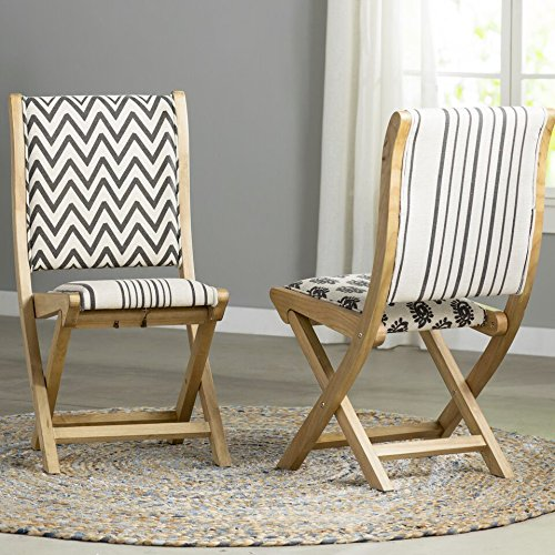Boraam Misty Folding Dining Chair, black, Beige, & Natural, Pattern 2