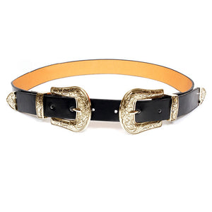 MoYoTo Women's Fashion 25mm Retro Carved Double Buckle Western Thin Leather Belt (Double Buckle(Gold))