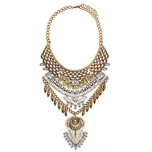 NABROJ Maxi Gold Statement Necklace Chunky Choker Ethnic Tribal Necklace Drag Queen Jewelry for Women 1 Pc with Gift Box-HL15 Gold