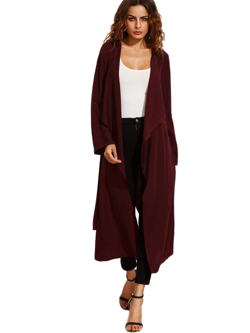 Milumia Women's Waterfall Collar Back Tie Wrap Long Trench Cardigan Jacket Duster Coat Outerwear