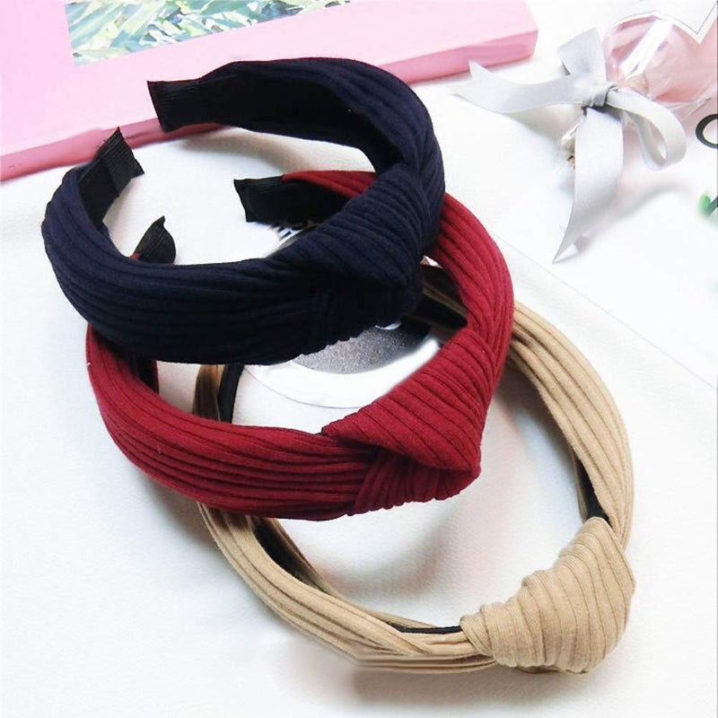lightclub 10Pcs Vintage Ribbed Solid Color Knotted Hair Hoop Women Wide Headband Hairband for Women