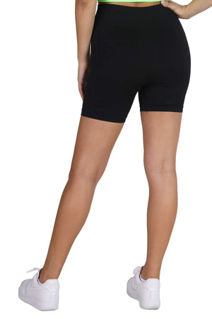 NIKIBIKI Women Seamless Moto Biker Shorts, One Size (Black)