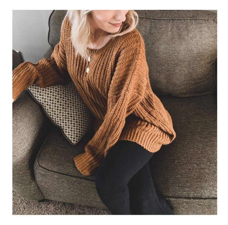 ARJOSA Women's Fashion Oversized Knitted Crewneck Casual Pullovers Sweater (#4 Brown)