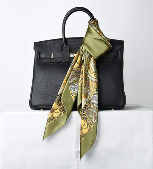 Large Square Satin Silk Like Lightweight Scarfs Hair Sleeping Wraps for Women Olive Totem Pattern