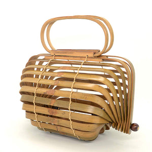 Miuco Women Bamboo Bag Handmade Basket Nest Large Bag Hollow Tote Lantern Beach Bag Brown Small