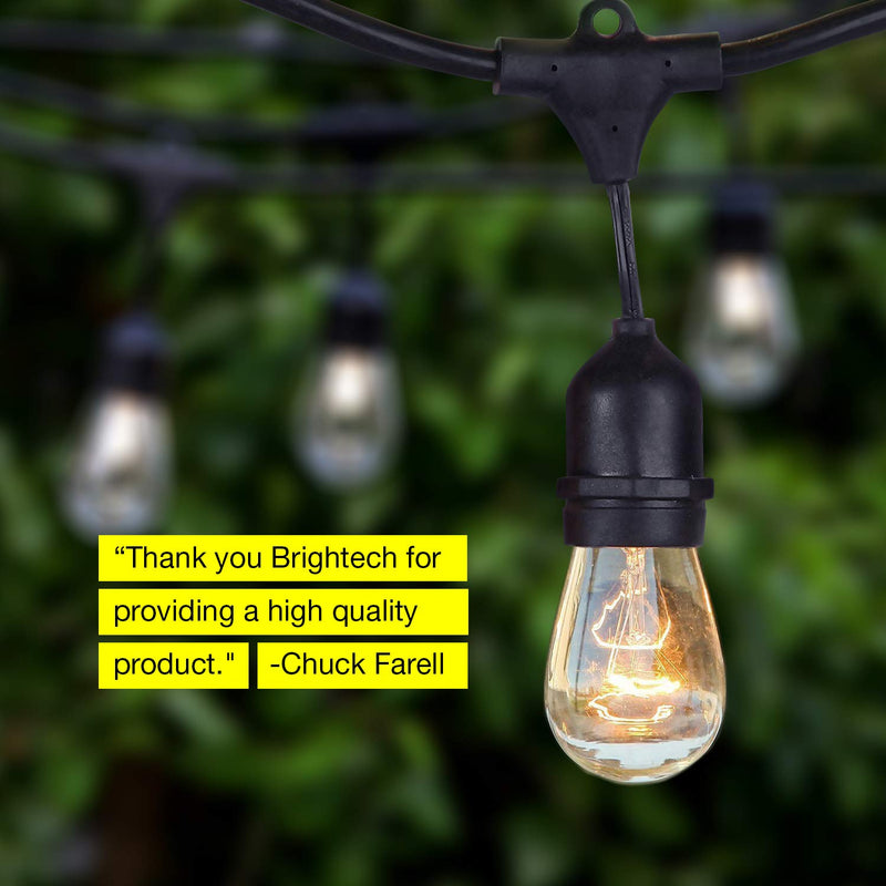 Brightech Ambience Pro - Waterproof Outdoor String Lights - Hanging Industrial 11W Edison Bulbs - 48 Ft Vintage Bistro Lights - Create Great Ambience in Your Backyard, Gazebo