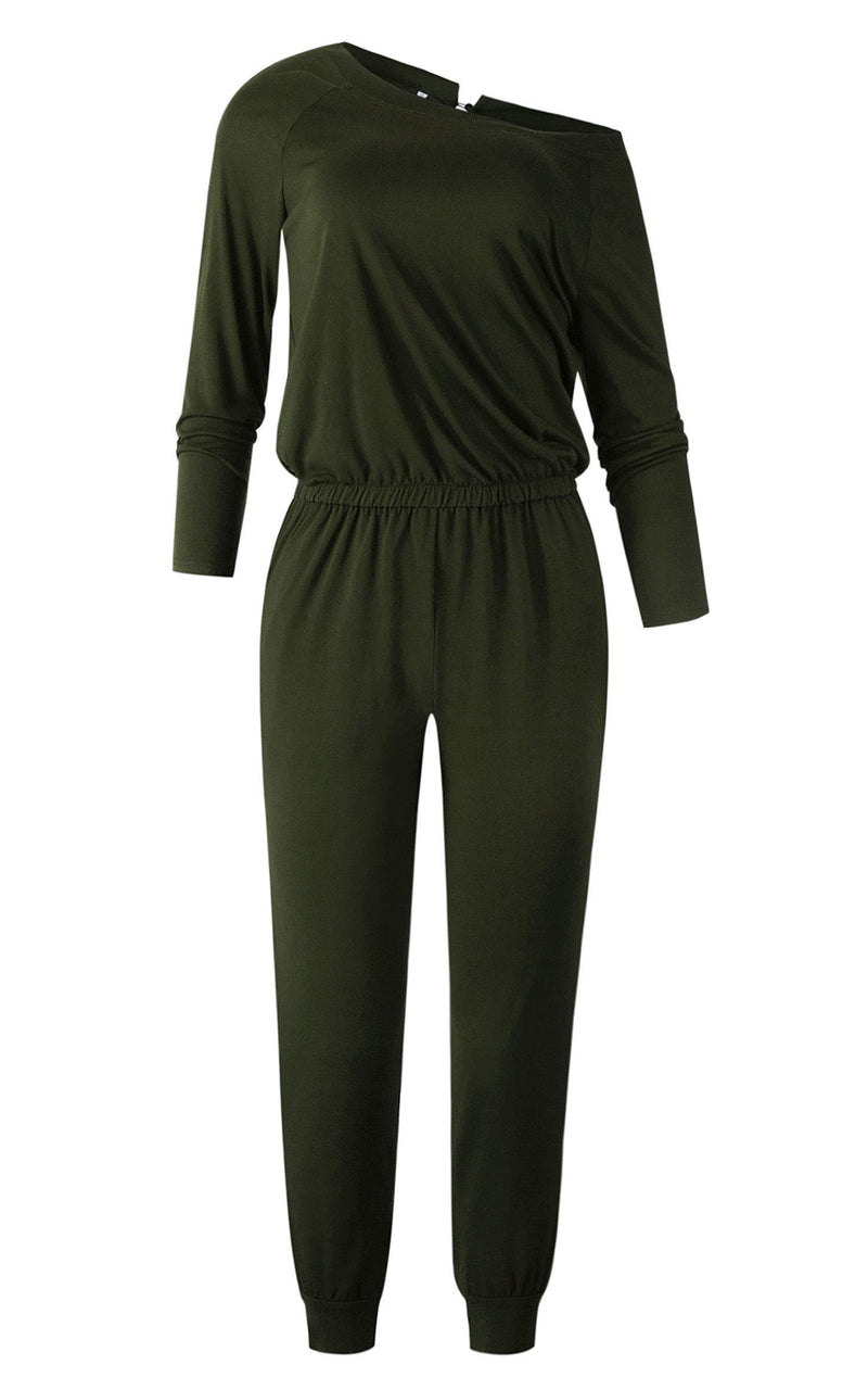 Angashion Women's Jumpsuits - Crewneck One Off Shoulder Long Sleeve Elastic Waist Playsuits Romper Jumpsuit with Pockets Army Green M