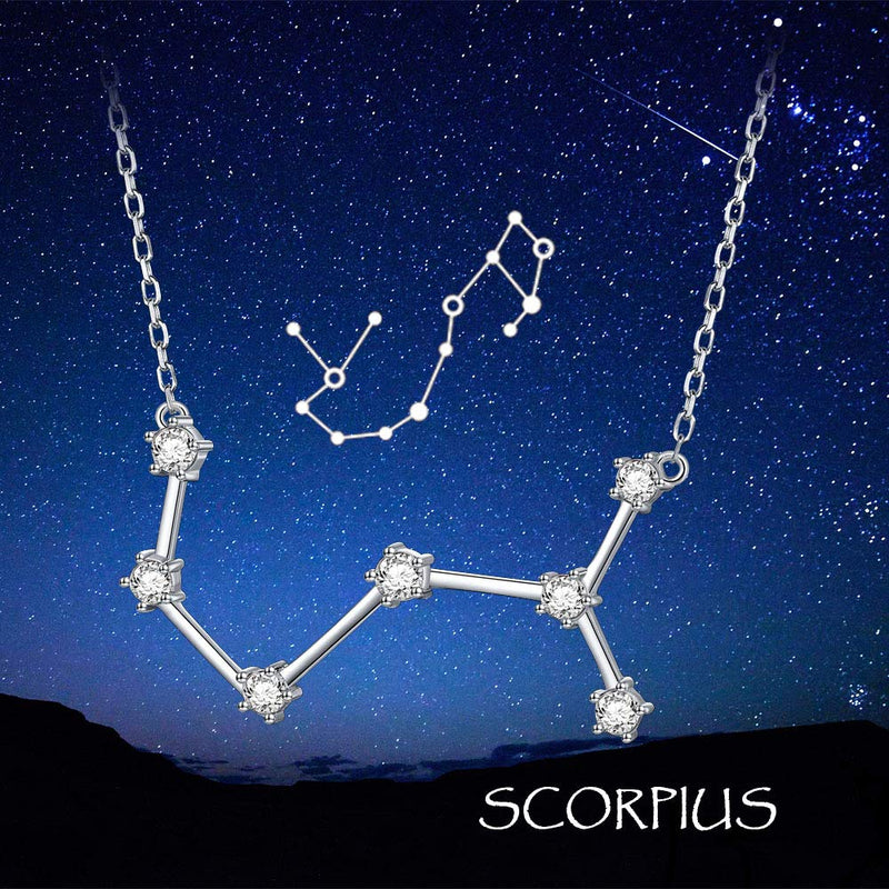 "Flyow Constellation Necklace 925 Sterling Silver CZ Horoscope Zodiac Constellation Pendant Necklace for Women,18"" (Scorpio)"