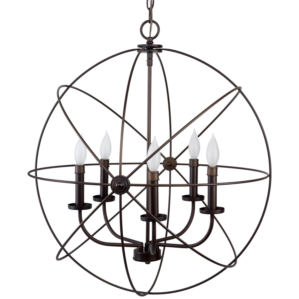 "Kira Home Orbits II Large 24"" 5-Light Modern Sphere/Orb Chandelier Bronze"