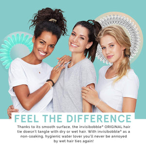 Invisibobble Original Traceless Hair Ties with Strong Grip, Non-soaking, High Wearing Comfort Updo Tool - Crystal Clear (Pack of 3)