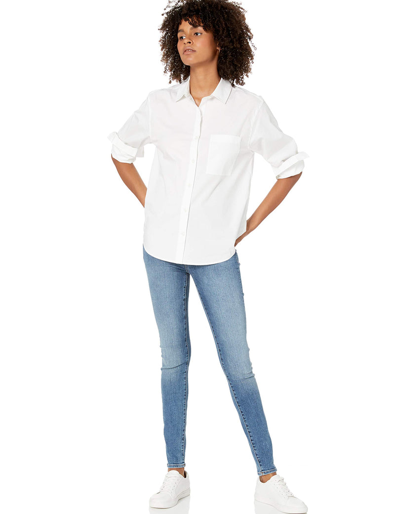 The Drop Women's June Relaxed Fit One Pocket Shirt, White, S