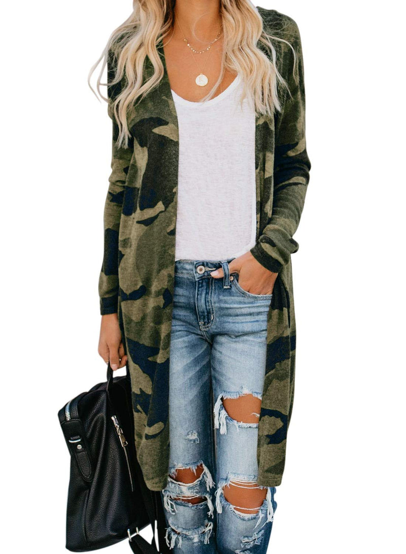 Dokotoo Womens Ladies Fashion Camouflage Printed Chunky Open Front Knitted Long Sleeve Loose High Low Cardigans Sweaters Coats Outerwears Thin Long Cardigans Sweaters, No Button No Pocket Medium