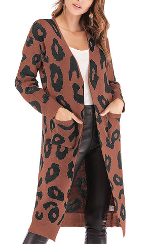 BTFBM Women Long Sleeve Open Front Leopard Knit Long Cardigan Casual Print Knitted Maxi Sweater Coat Outwear with Pockets (Coffee, Small)