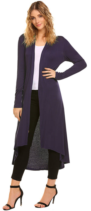 Women's Casual Long Open Front Drape Lightweight Duster High Low Hem Maxi Long Sleeve Cardigan(S-3XL)