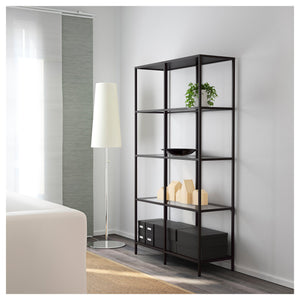 IKEA VITTSJÖ,Shelving unit, black-brown, glass