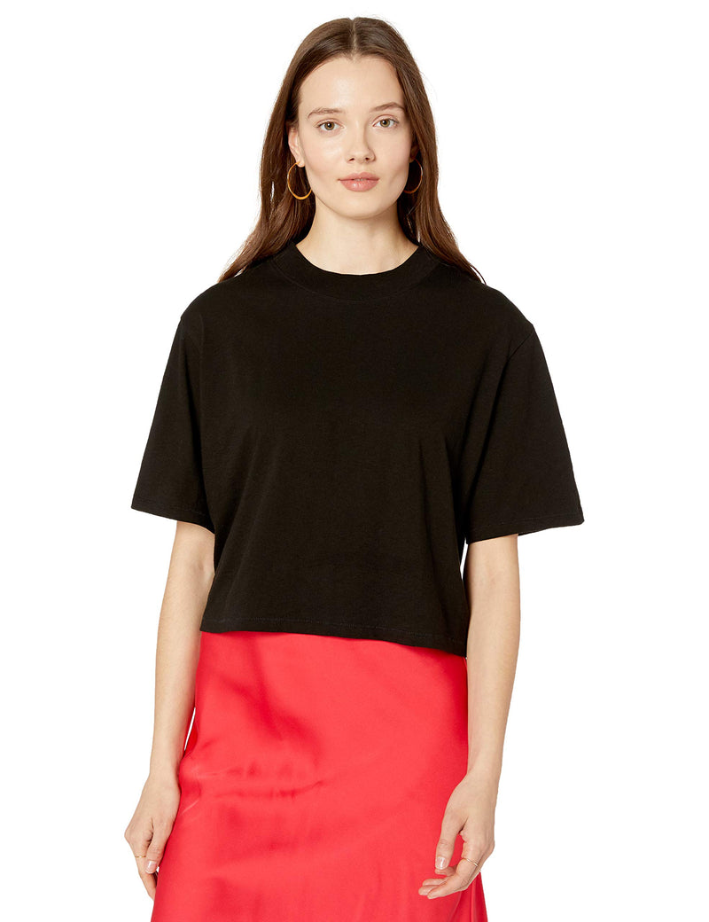 The Drop Women's Sydney Short-Sleeve Cropped Crew Neck T-Shirt, Black, XS