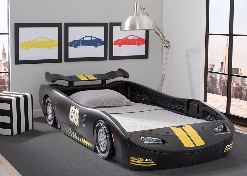Delta Children Turbo Race Car Twin Bed, Black