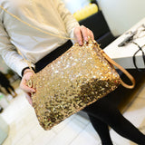 Glitter Shoulder Bag Large Capacity Fashion Club Chain Zipper Evening Party Detachable Strap Sequins Women