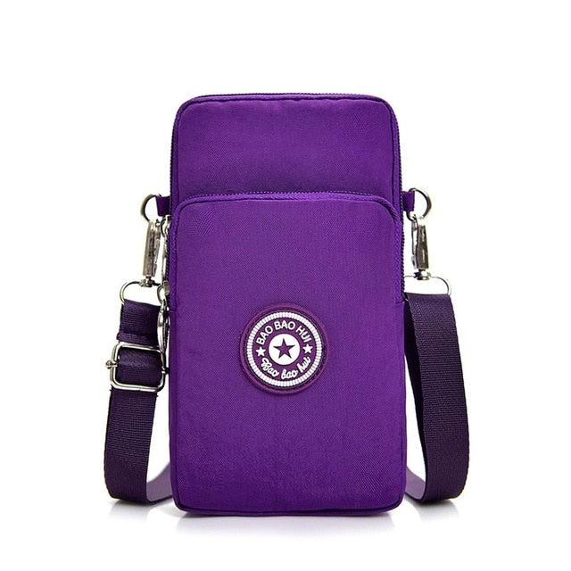 Fashion Messenger Square Flap For Women Hand Bag Mobile Phone Bags Multi Functional Sports Arm Shoulder Crossbody Neck Purse Bag