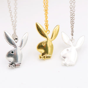 Cute Three-color Rabbit Necklace,  Rabbit Pendant, Rabbit Gentleman Charm, DIY Jewelry, Friend's Gift, Tibetan Silver A1715 1pcs