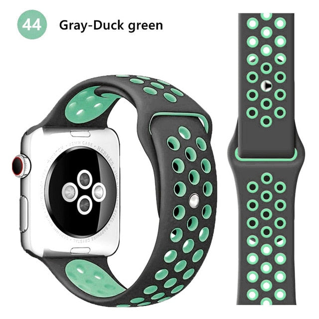 Silicone strap for Apple watch band 44 mm/40mm iWatch band 42mm/38mm Breathable Sport bracelet watchband For Apple watch 5 4 3 2