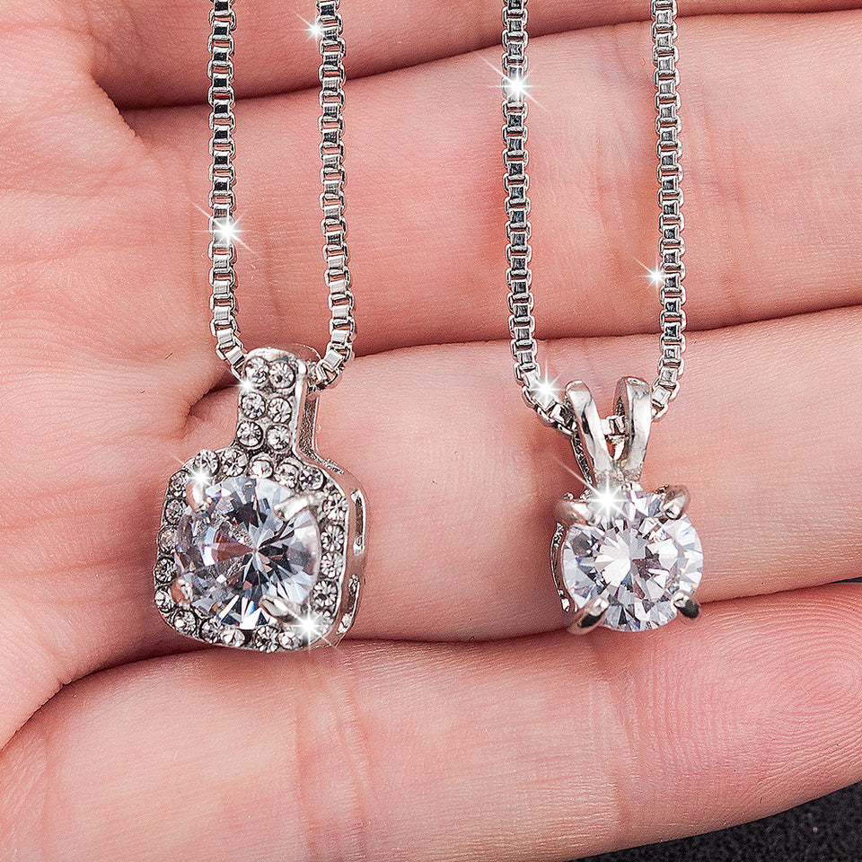 2019 Classic Wedding Crystal Silver Color Pendant Necklace for Women Trendy Rhinestone Collar Necklace Jewelry