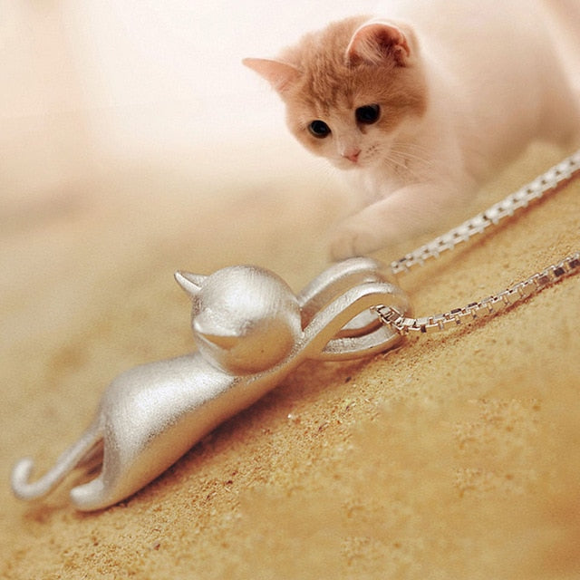Cute Silver Cat Pendant Necklace Trendy Tiny Cat Dog Pet Animal Long Chain Necklace For Women Girl Charm Jewelry Birthday Gift