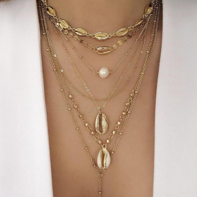 Fashion Jewelry Personality Fashion Ol Punk Wind Multilayer Pearl Alloy Necklace Tassel Necklace Female