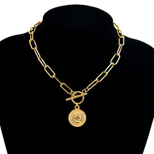 Vintage Carved Coin Necklace For Women Stainless Steel Gold Color Medallion Pendant Necklace Long Choker Boho Jewelry Collier