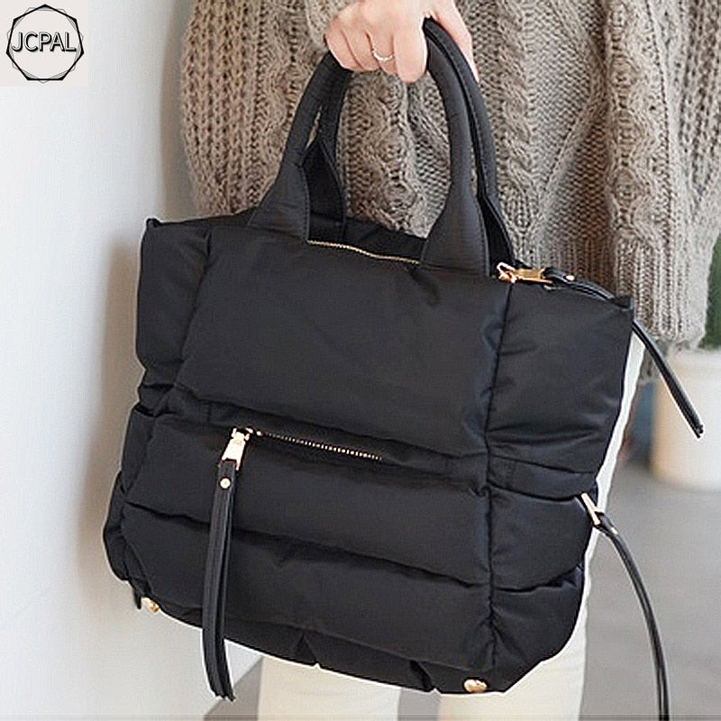 2018 New Winter Space Bale Handbag Woman Casual Space Cotton Totes Bag Down Feather Padded Lady Shoulder Crossbody Bag