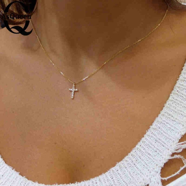 Small Gold Cross Pendant Necklace Women Girl Kids,Mini Charm Pendant Gold Color Jewelry Crucifix Christian Ornaments