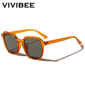 VIVIBEE Summer Eyeglasses Fashion Transparent Orange Square Sunglasses for Women 2019 Trendy Sun Glasses Vintage Men Shades