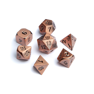 Antique Copper Dice and Vegan Leather Dice Bag