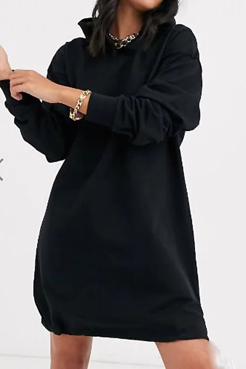 BLACK SLOUCHY POCKET HOODED SWEAT DRESS