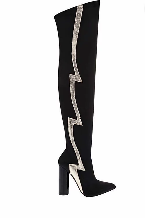 Flash stripe Black over the knee Boots